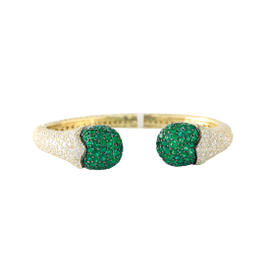 Judith Ripka Upside Down Pave Cuff With Emerald Tips 5.83cts, Black Rhodium on Ends.