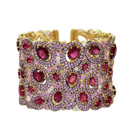 Judith Ripka Caserta Oval Shapes Open Cuff with Pink Sapphire Pave and Prong Rubellite