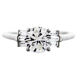 Platinum 1.45ct Diamond Engagement Ring Size 6.5