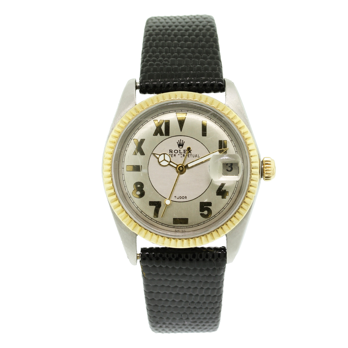 """Image of """"Rolex Tudor 18K Yellow Gold & Stainless Steel / Leather 34mm Vintage"""""""