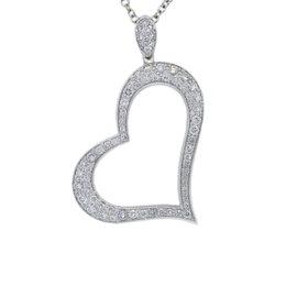 Piaget 18K White Gold Diamond Heart Pendant Necklace