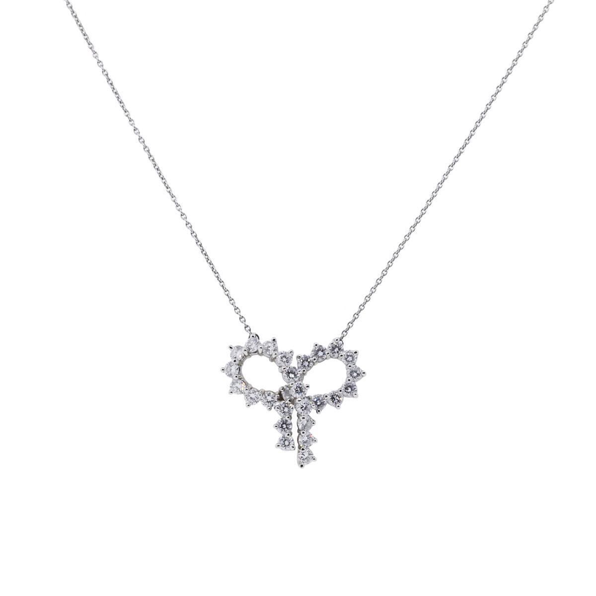 "Image of ""Tiffany & Co. Platinum 2.45ctw. Diamond Large Bow Pendant Necklace"""