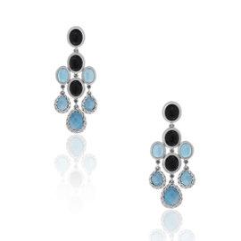 David Yurman Sterling Silver Blue Topaz Dangle Earrings