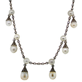 14K Yellow Gold/Silver Antique Pearl Diamond Necklace