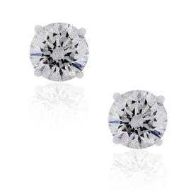14K White Gold 3.02ct Diamond 4 Prong Stud Earrings