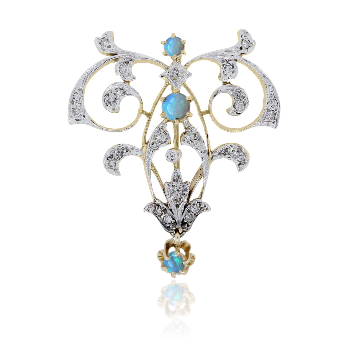 "Image of ""14K Yellow & White Gold Diamond Opal Pendant"""