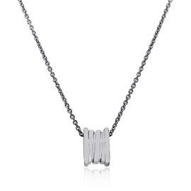 Bulgari B 18K White Gold Zero Pendant Necklace