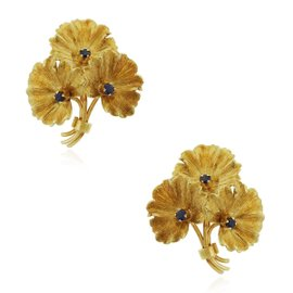 Tiffany & Co. 18K Yellow Gold with 0.03ct Sapphire Flower Earrings