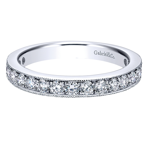 "Image of ""Gabriel 14K White Gold 0.74ct Diamond Wedding Band Ring Size 6.25"""