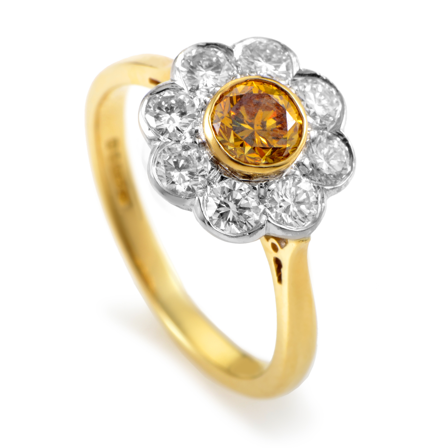 "Image of ""Garrard 18K Multi-Tone Gold Orange & White Diamond Flower Ring"""