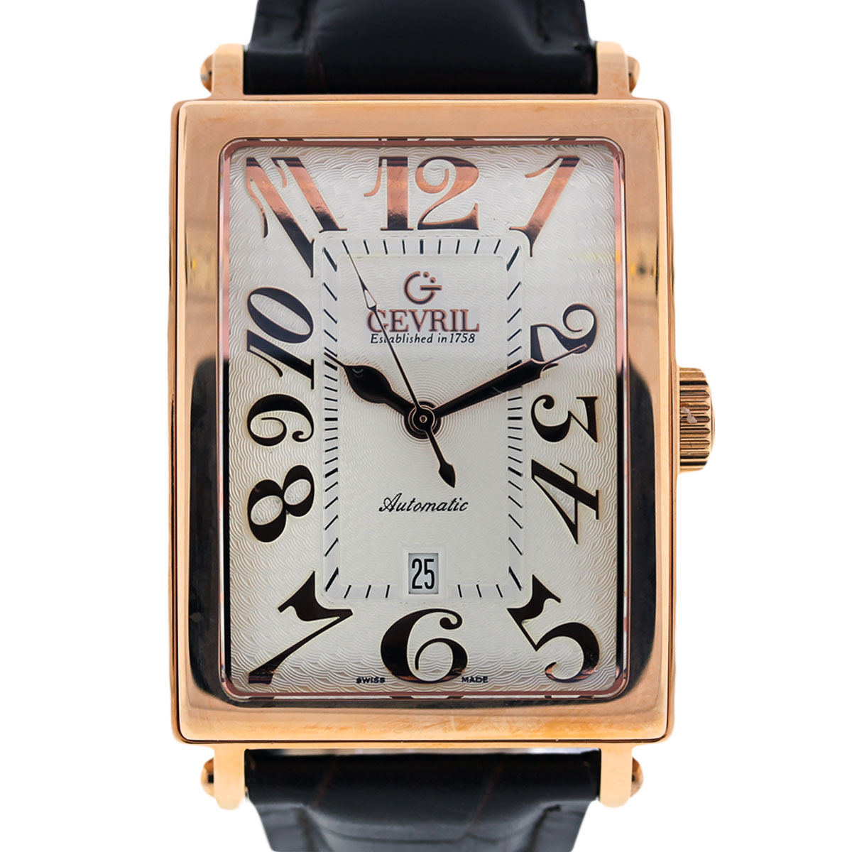 "Image of ""Gevril Avenue of Americas 5000 Rose Gold Plated & Leather 34mm Mens"""