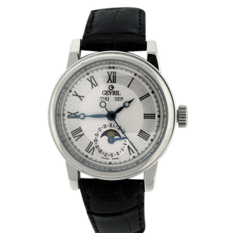 "Image of ""Gevril Calendar Moonphase Stainless Steel & Leather 40mm Mens Watch"""