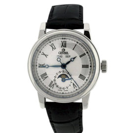 Gevril Calendar Moonphase Stainless Steel & Leather 40mm Mens Watch