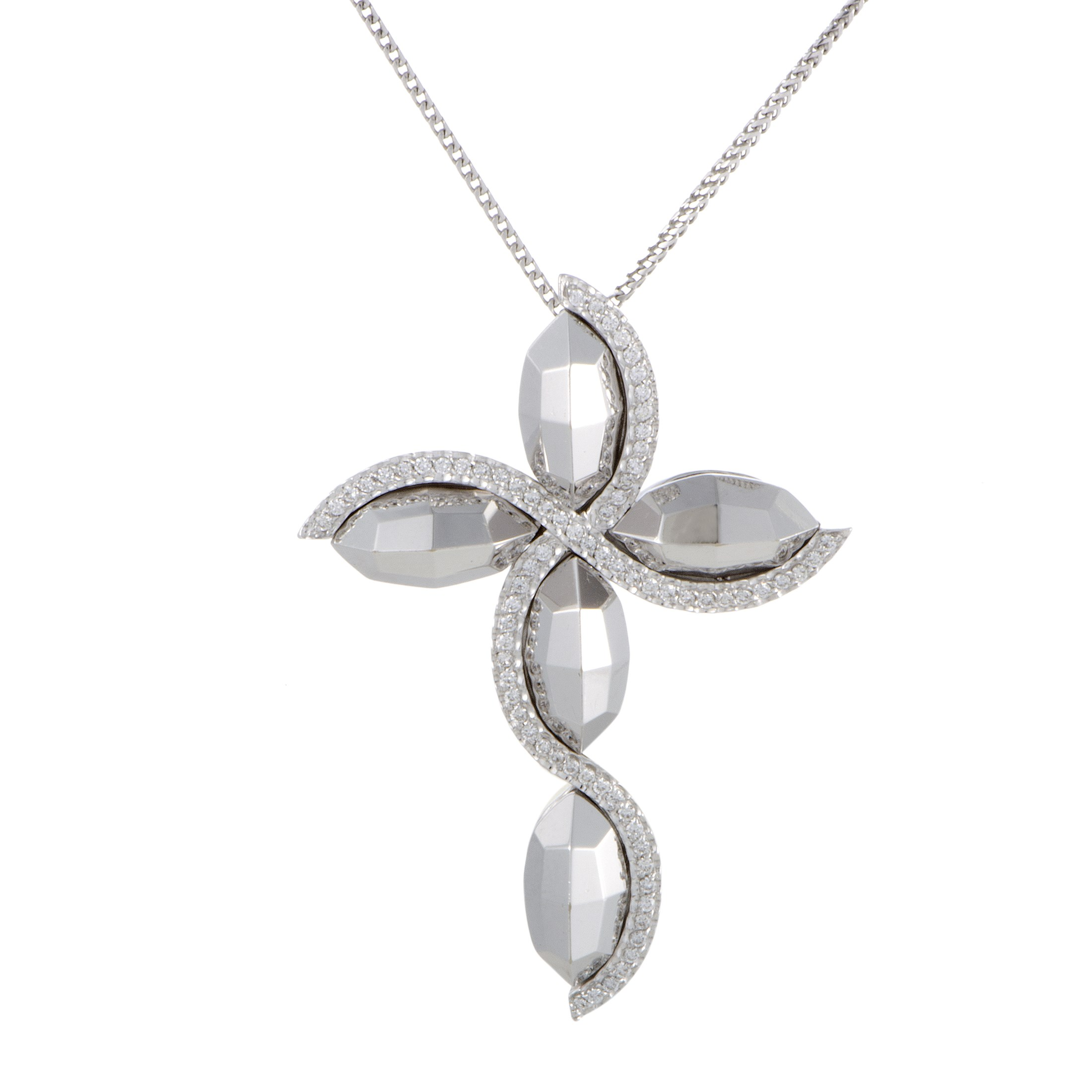 "Image of ""Giovanni Ferraris 18K White Gold Diamond Large Cross Pendant Necklace"""