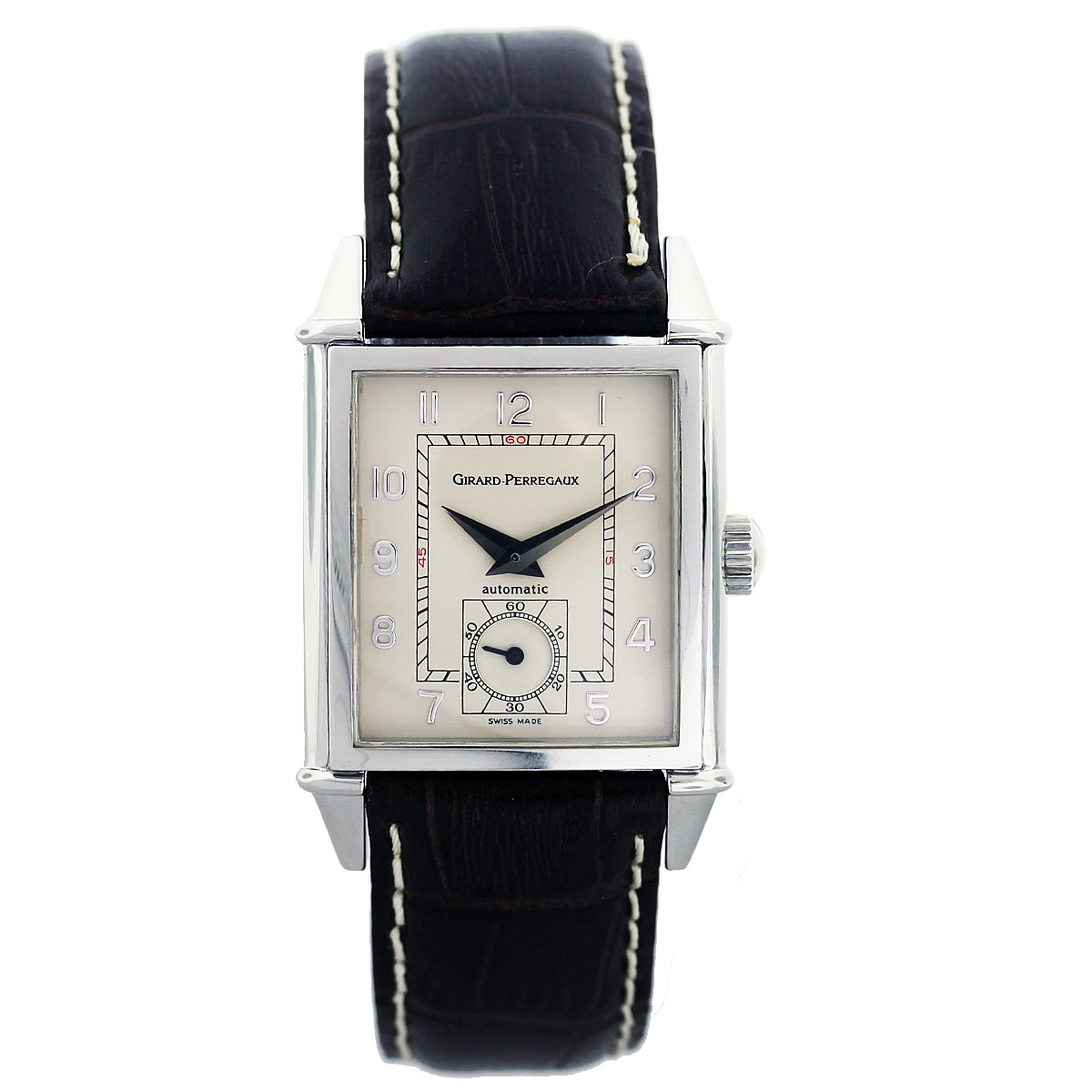 "Image of ""Girard Perregaux Stainless Steel & Leather Automatic 30mm Mens Watch"""