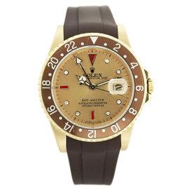 Rolex GMT Master 16758 18K Gold Diamond Dial Brown Bezel Watch