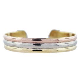 18K Tri-Color Gold Diamond Cuff Bracelet