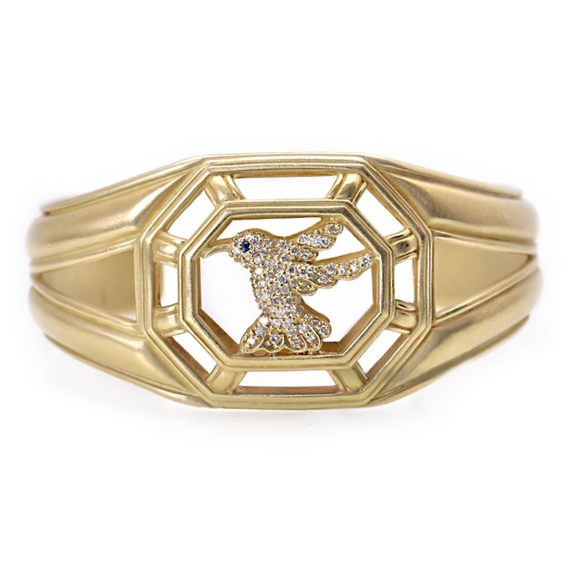 "Image of ""Slane & Slane 18K Yellow Gold Diamond Hummingbird Cuff"""