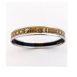 Hermes Collier de Chien CDC Palladium 65 Fin Gold Printed Enamel Bracelet