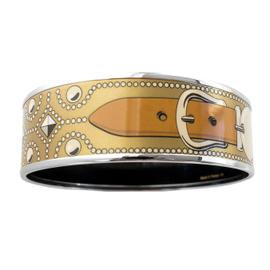 Hermes Collier de Chien Gold CDC Printed Enamel Bracelet Bangle