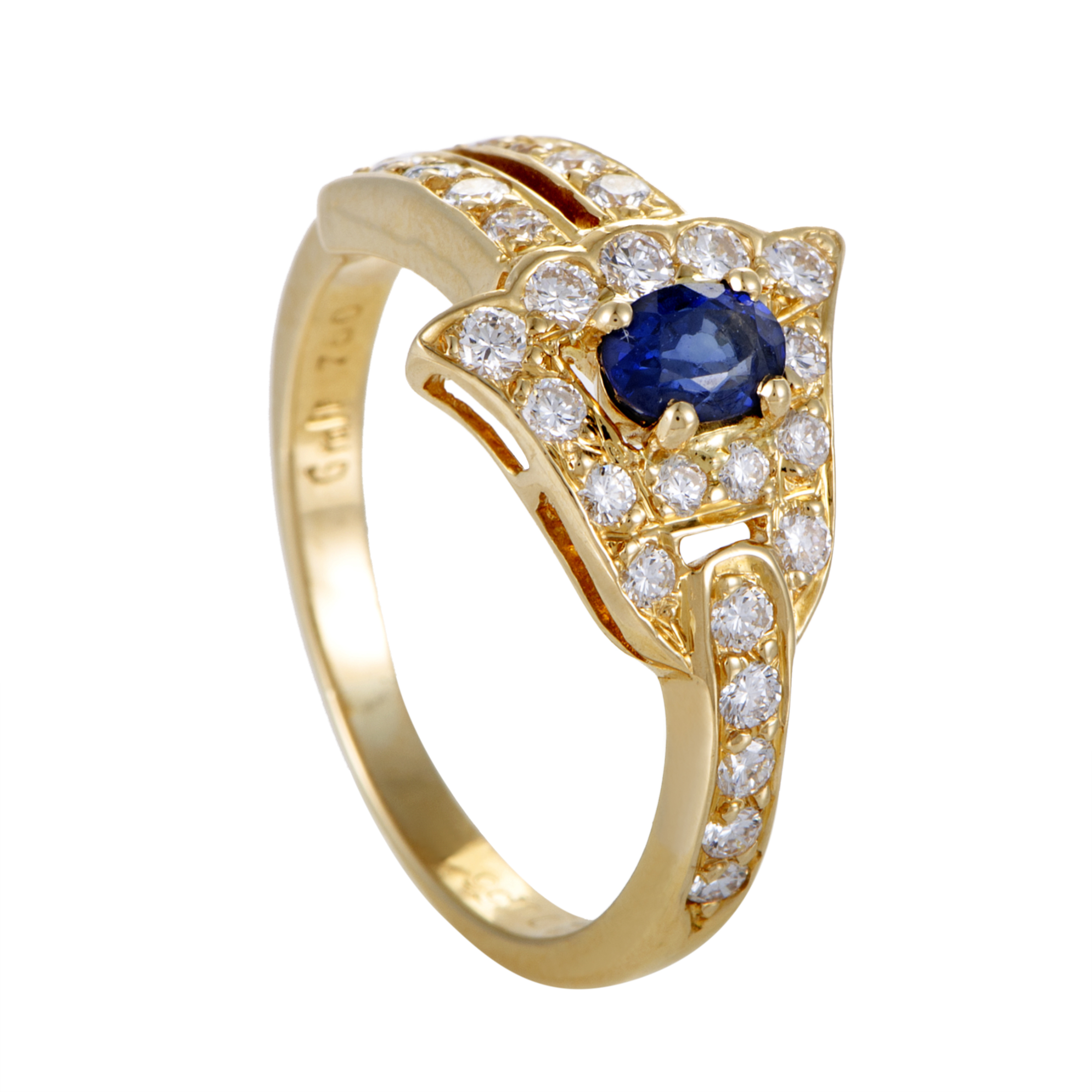 "Image of ""Graff Diamonds 18K Yellow Gold Diamond Pave and Sapphire Ring Size 6.5"""