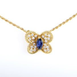 Graff 18K Yellow Gold Diamond & Sapphire Butterfly Pendant Necklace