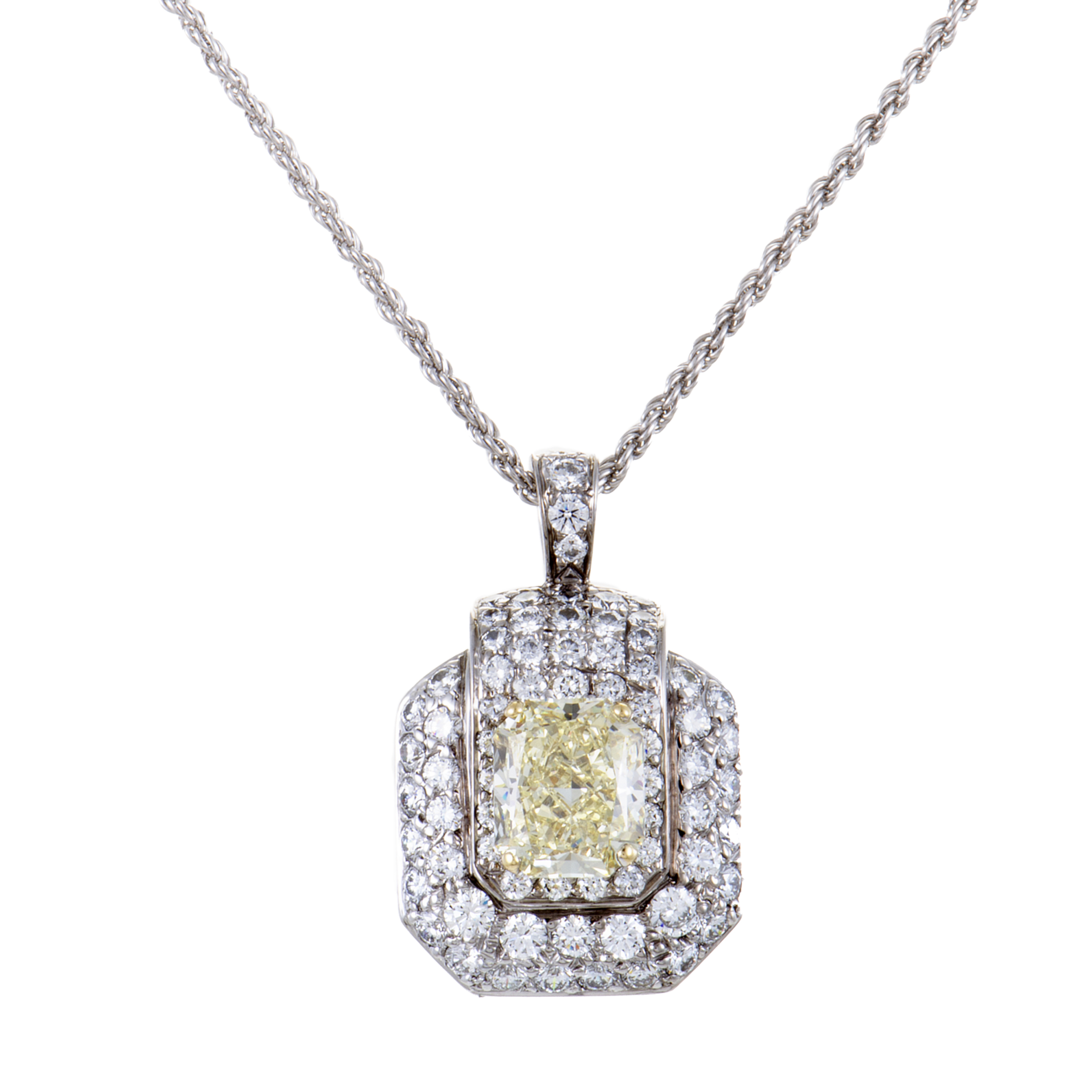 "Image of ""Graff Diamonds 18K White Gold Fancy Yellow and White Diamond Pendant"""