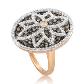 Gregg Ruth 18K Rose Gold Multi-Diamond Flower Ring
