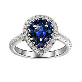 Greg Ruth 18K White Gold Sapphire & Diamond Ring Size 6.5