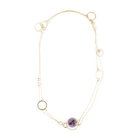 Gucci 18K Yellow Gold Amethyst Flora Charm Double Strand Necklace