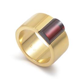 Gucci 18K Yellow Gold Garnet Band Ring