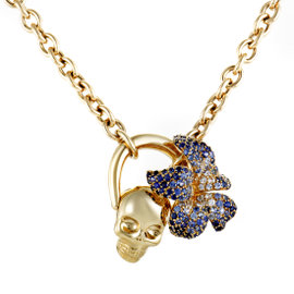 Gucci Flora 18K Yellow Gold Sapphire Pave Skull Pendant Necklace