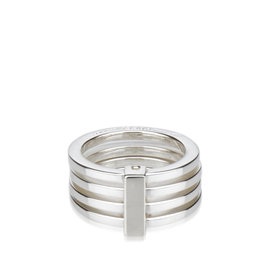 Gucci SV925 / Sterling Silver Stacked Ring Size 8.25