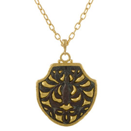 Gurhan Antiquities 24K and 22K Yellow Gold and Bronze Byzantine Pendant Necklace