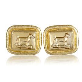 Gurhan 24K Yellow Gold and Crystal Dog Cufflinks