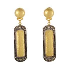 Gurhan 24K Yellow and 18K White Gold Rectangular Drop Earrings