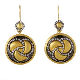 Gurhan Triskele 24K Yellow Gold 1.98ct. Diamond Disc Earrings