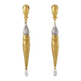 Gurhan Sultan 24K Yellow Gold and 18K White Gold 1.31ct. Diamond Drop Earrings