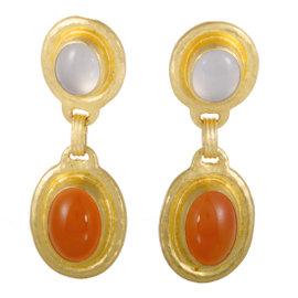 Gurhan 24K Yellow Gold Carnelian and Chalcedony Drop Earrings