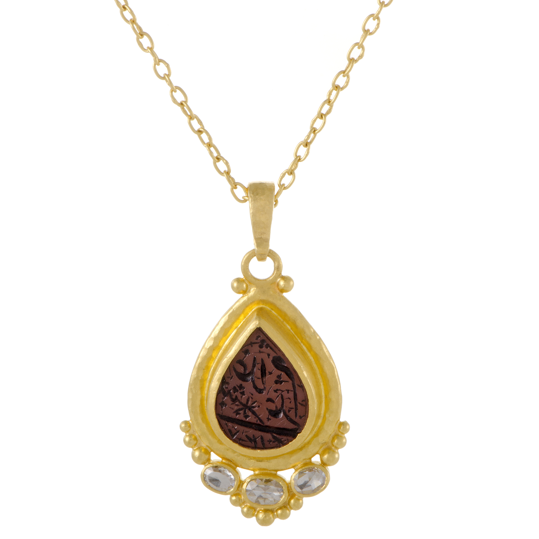 "Image of ""Gurhan 24K and 22K Yellow Gold 0.60ct. Diamond and Arabic Intaglio"""