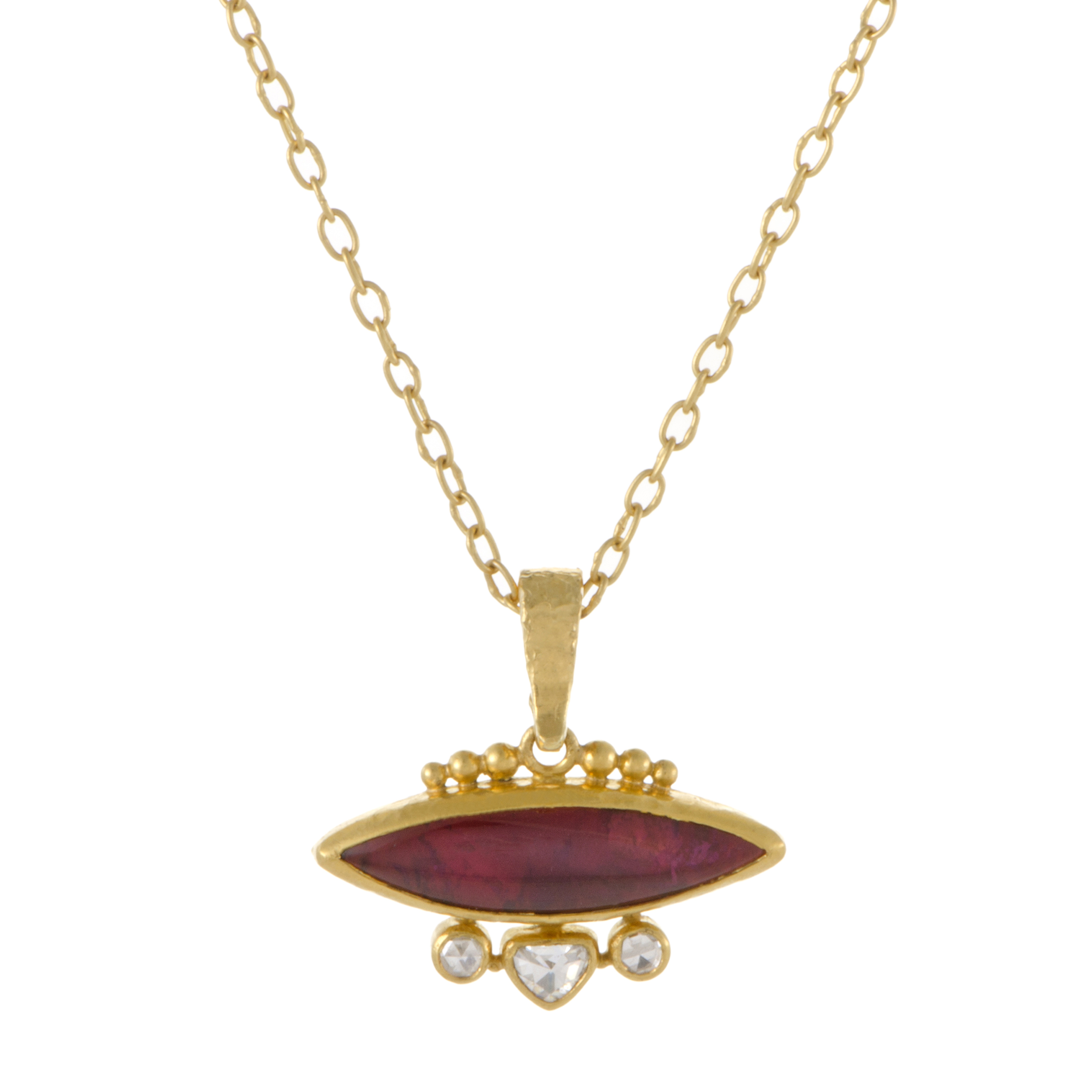 "Image of ""Gurhan 24K and 22K Yellow Gold 0.40ct. Diamond and Tourmaline Amulet"""