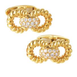Guy Laroche 18K Yellow Gold Diamond Cufflinks