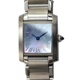 Cartier Tank Francaise W51034q3 Stainless Steel with Blue Shell Quartz Womens 20mm Watch