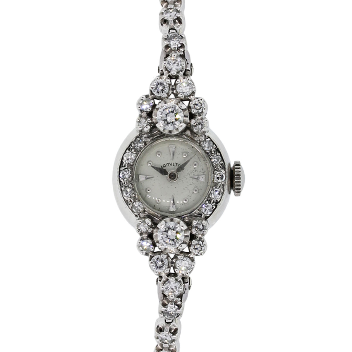 "Image of ""Hamilton 14K White Gold Diamond Manual Vintage 18mm Womens Watch"""