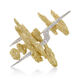 Hammerman Brothers Platinum and 18K Yellow Gold Diamond Pave Brooch
