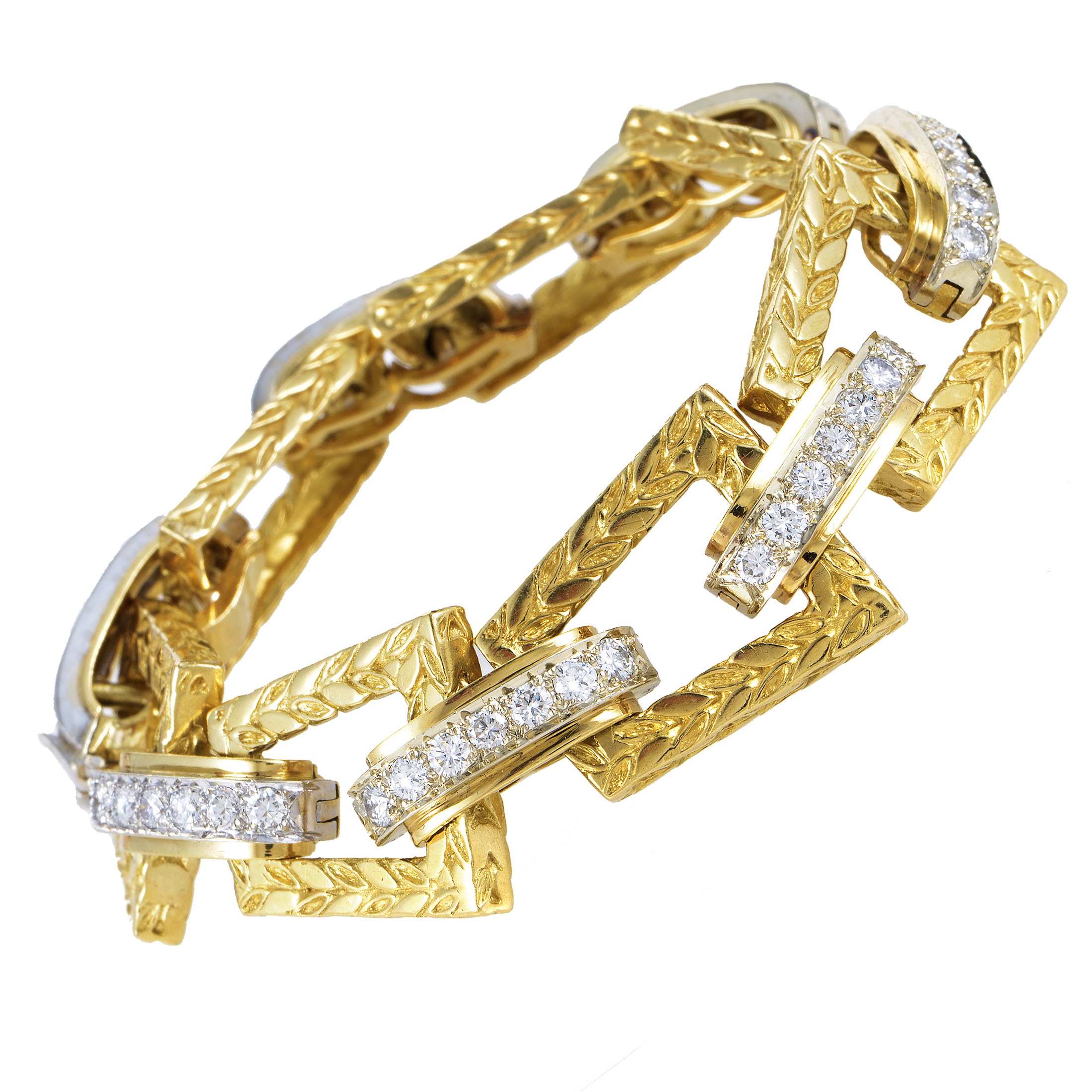 "Image of ""Hammerman Brothers 18K Multi-Tone Gold Diamond Link Bracelet"""