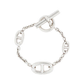 Hermes Farandole Chain Link Sterling Silver Toggle Bracelet
