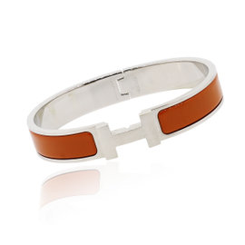 Hermes Clic H Palladium Enamel Bangle Bracelet