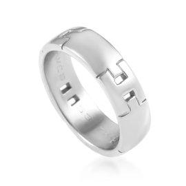 Hermes 18K White Gold Hercules H Band Ring Sz 7
