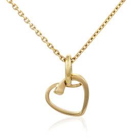 Hermes 18K Yellow Gold Openwork Heart Pendant Necklace